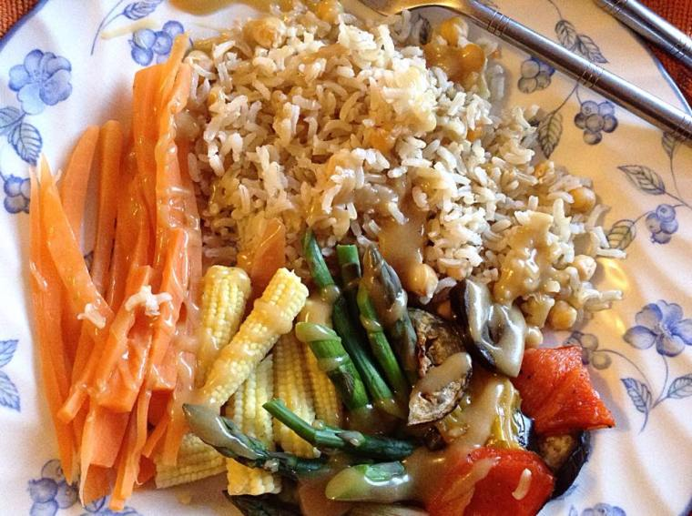 brown rice chicpeas, steamed asparagus, baby corn, carrot, mediteranean veg tahini