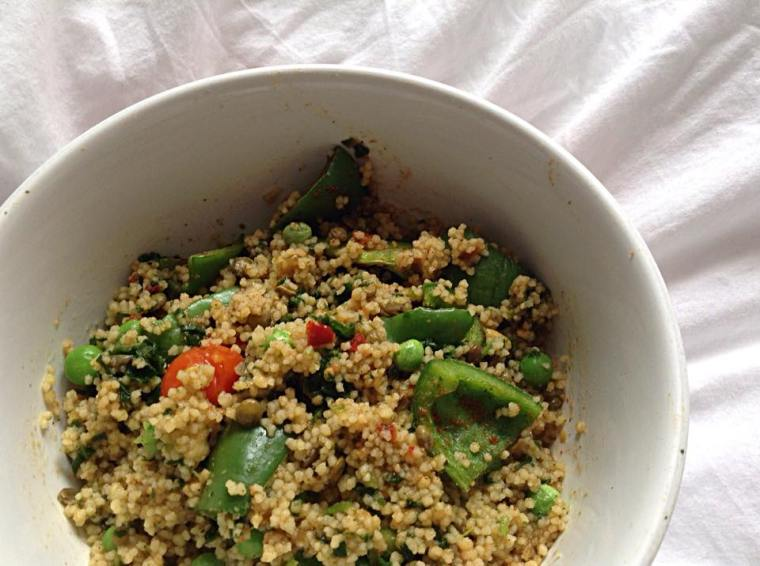 couscous lentil cumin pot, peas, paprika and green pepper